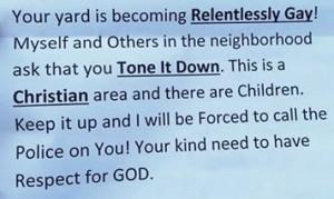 relentlessly gay yard note hoax