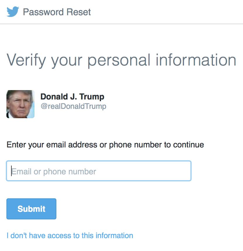 @realDonaldTrump password reset 01-26-17