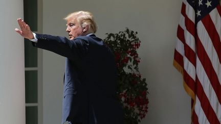President Donald Trump waves goodbye at the White House