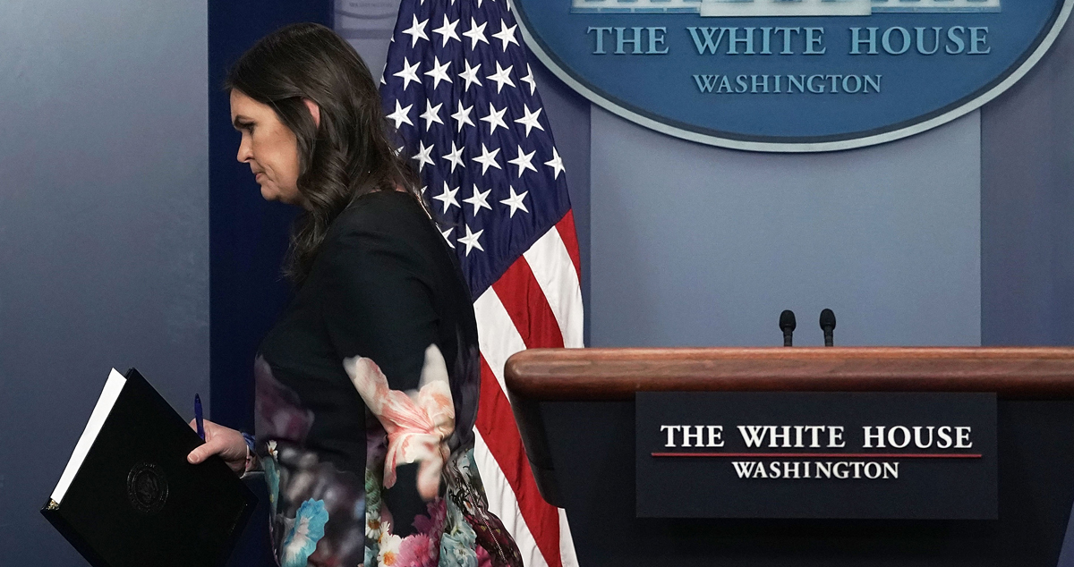 White House Press Secretary Sarah Sanders leaves after a daily news briefing at the James Brady Press Briefing of the White House January 2, 2018 in Washington, DC. On Thursday, June 16 2019, President Donald Trump announced that Sanders is leaving her position.