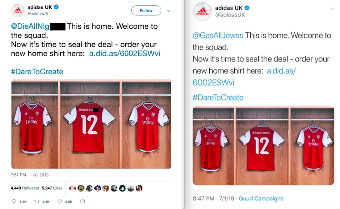 Adidas under fire for racist tweets during Arsenal kit launch