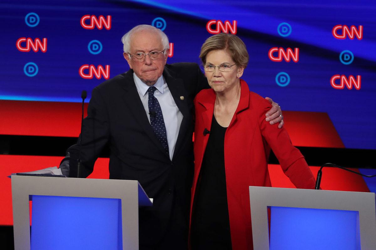 Democratic Presidential Candidates Elizabeth Warren, Bernie Sanders