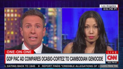 Chris Cuomo Calls Out SuperPAC Head Elizabeth Heng Over AOC-on-Fire Ad