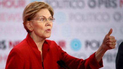 Elizabeth Warren (D-MA) speaks during the Democratic presidential primary debate at Loyola Marymount University on December 19, 2019 in Los Angeles, California.
