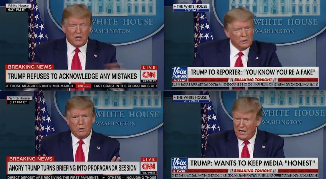 CNN, Fox News Use Dueling Chyrons to Report on Trump's Bizarre Coronavirus Briefing