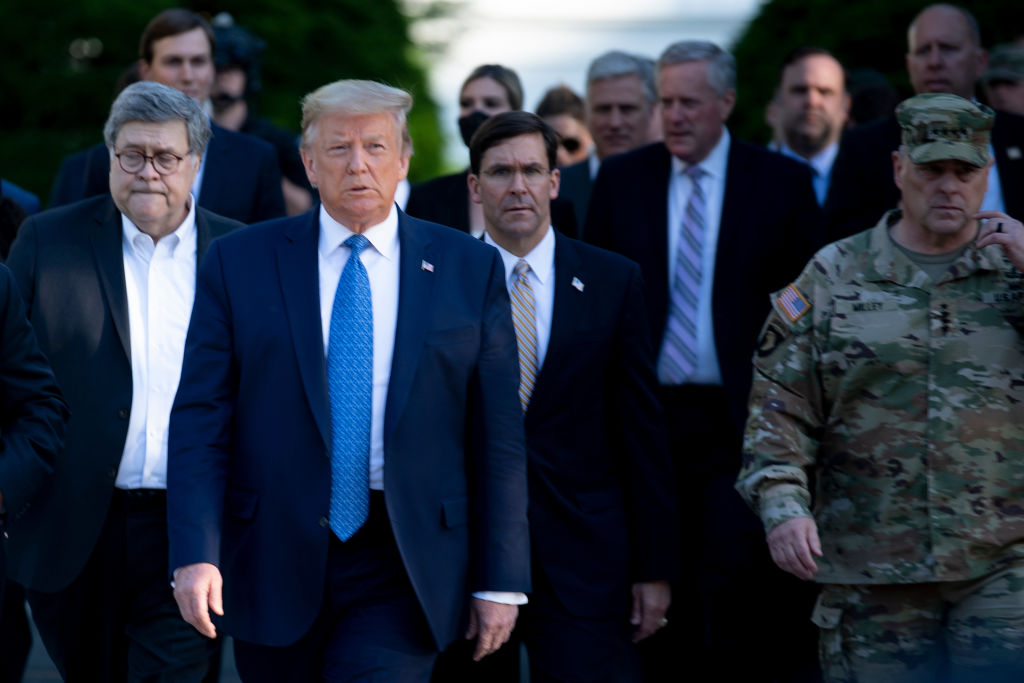 Attorney General Bill Barr, President Donald Trump, Defense Secretary Mark Esper, and General Mark Milley