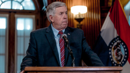 Mike Parson at a press conference