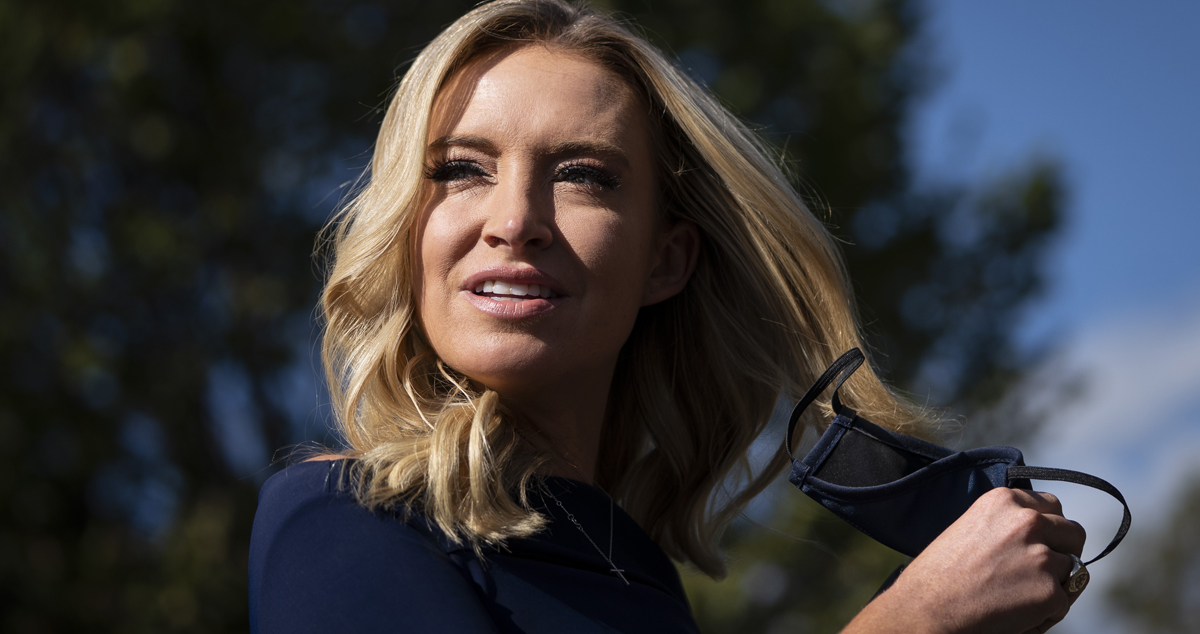 White House Press Secretary Kayleigh McEnany arrives to speak to reporters on October 2, 2020, about President Donald Trump testing positive for coronavirus.