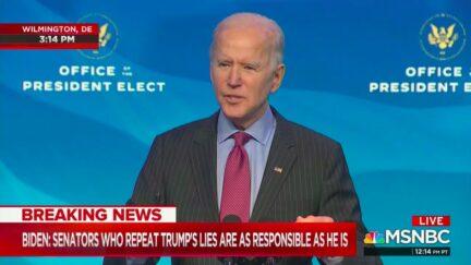 Joe Biden Blames Cruz, Hawley for Being 'Part of the Big Lie' of Trump Election Conspiracies