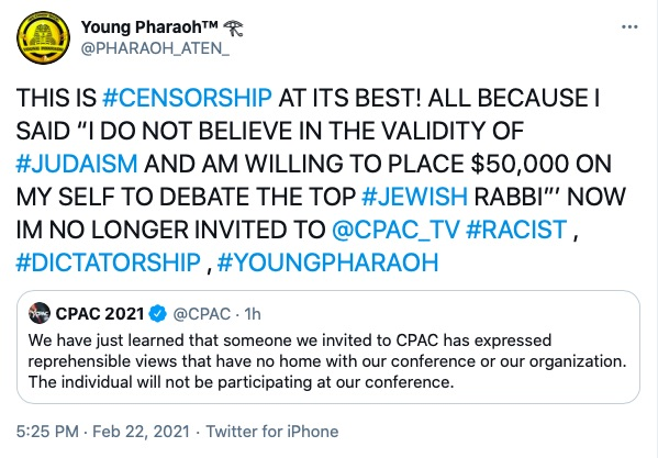 Young Pharaoh Responds to CPAC Cancellation
