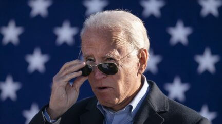 MONACA, PA - NOVEMBER 02: Democratic presidential nominee Joe Biden takes off his sunglasses while speaking at a campaign stop at Community College of Beaver County on November 02, 2020 in Monaca, Pennsylvania. One day before the election, Biden is campaigning in Pennsylvania, a key battleground state that President Donald Trump won narrowly in 2016. (Photo by Drew Angerer/Getty Images)