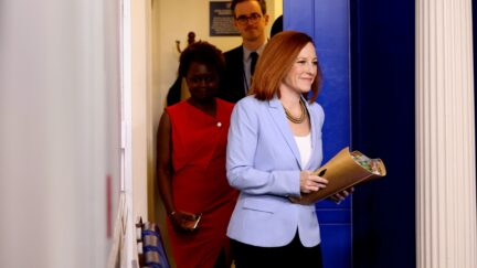 WASHINGTON, DC - MAY 21: White House Press Secretary Jen Psaki arrives to a daily press briefing at the James Brady Press Briefing Room of the White House on May 21, 2021 in Washington, DC. Psaki spoke on the recent ceasefire between Hamas and Israel as well as the White House reopening further to more people. (Photo by Anna Moneymaker/Getty Images)(Photo by Anna Moneymaker/Getty Images)