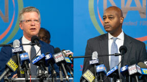New York City Mayoral candidates Shaun Donovan and Ray McGuire speak during a press conference at the National Action Network's House of Justice in New York on March 18 2021