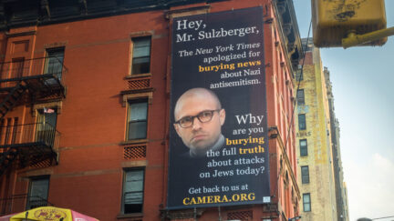 A billboard by the Committee for Accuracy in Middle East Reporting in America (CAMERA) addressed to New York Times chairman and publisher A.G. Sulzberger. Credit: CAMERA.