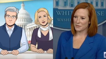 Colbert's Cartoon Anchors and Jen Psaki