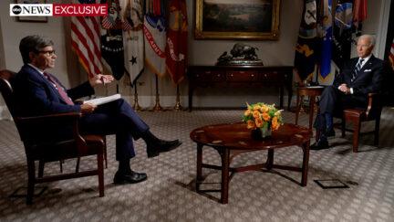 George Stephanopoulos and President Joe Biden