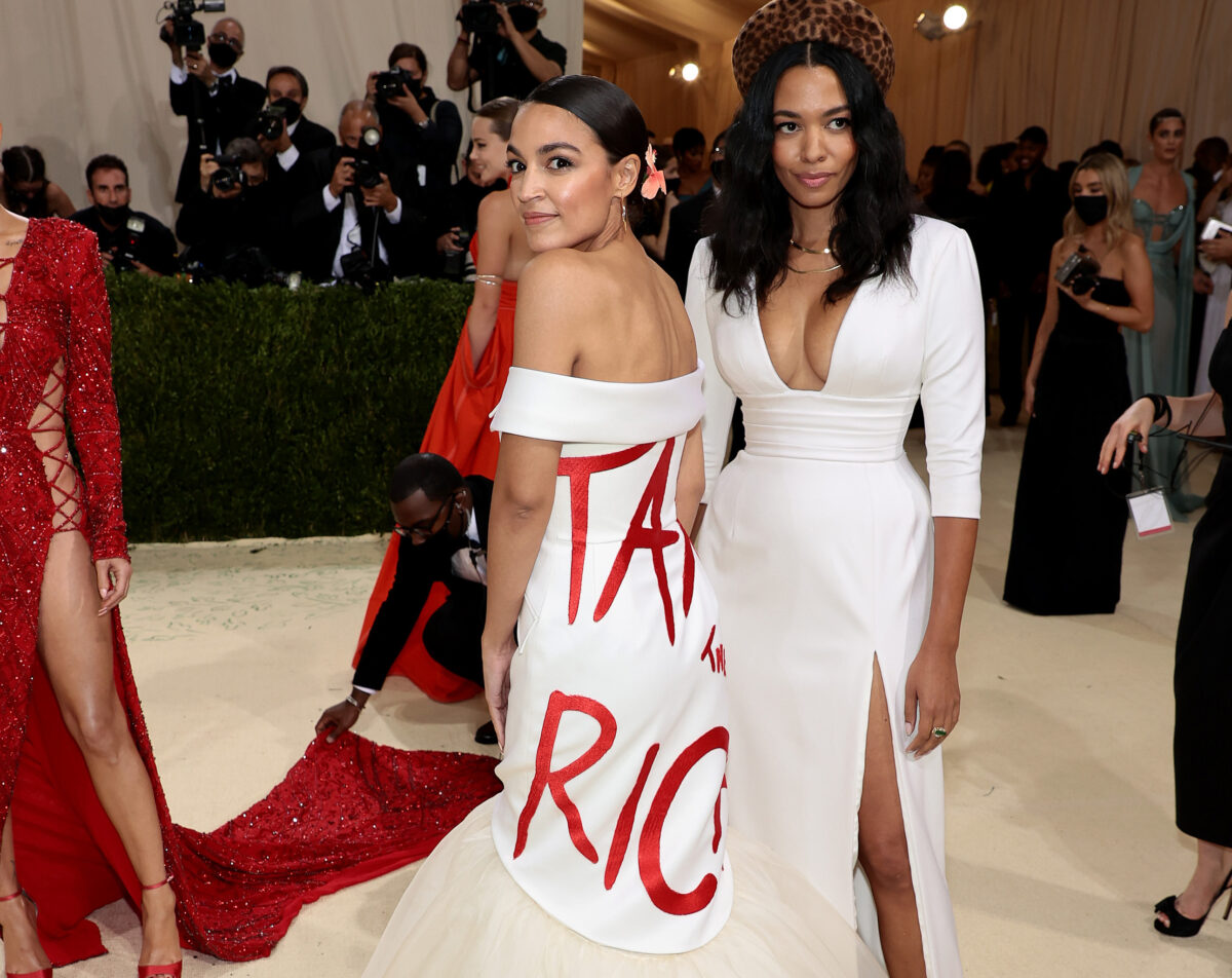 aoc and aurora james tax the rich met gala dress