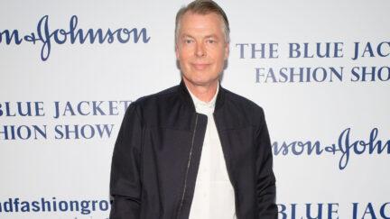 Gossip columnist Richard Johnson at the Blue Jacket Fashion Show