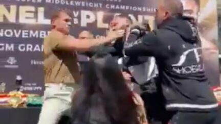 Canelo Alvarez Fights With Opponent at News Conference