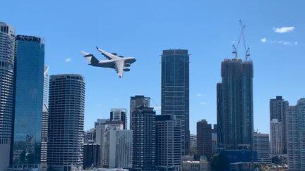 Australian Air Force c-17 practice run