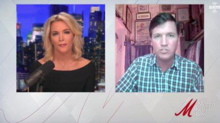 Tucker Carlson being interviewed by Megyn Kelly