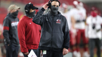 Nick Rolovich on the sideline