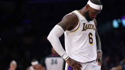 LeBron James at Memphis Grizzlies v Los Angeles Lakers
