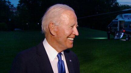 Joe Biden Laughs at Bernie Sanders Joe Manchin Feud Question