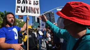 Supporters of Dave Chappelle clash with those protesting Netflix on October 20, 2021 in Los Angeles